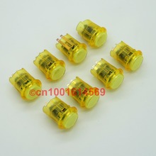 8Pcs/lot New Reyann 24mm Arcade LED Illuminated Arcade Lits Button For Fighting Stick Super Street Fighter Joystick Games Yellow