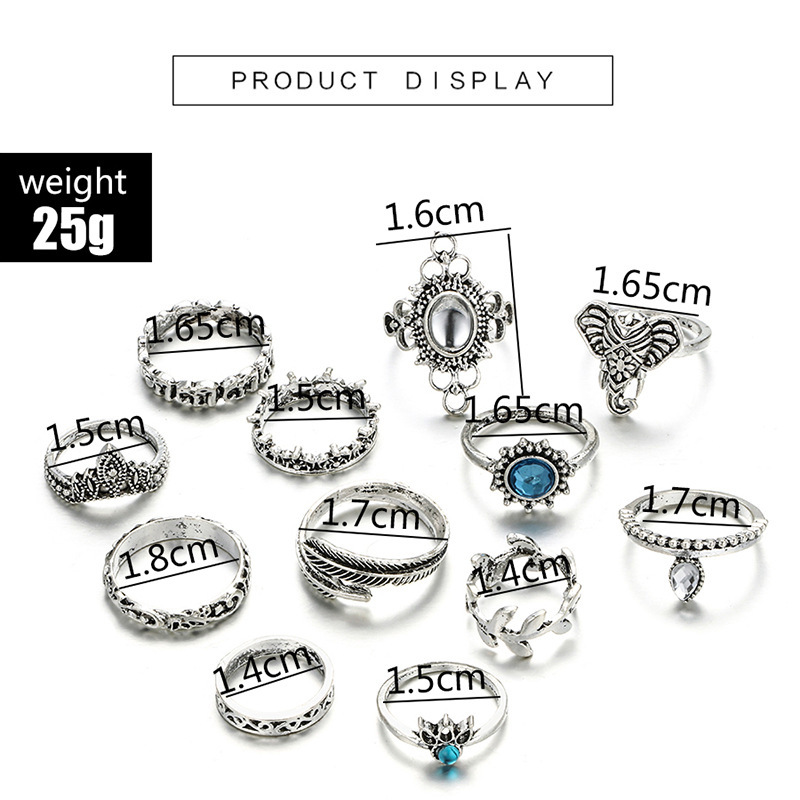 Bague Femme Vintage Rings for Women Boho Geometric Flower Crystal Knuckle Ring Set Bohemian Midi Finger Jewelry Silver Color 34
