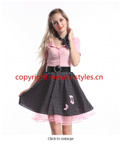 2015 party costume  zy274 ladies 50s poddle dress costume Grease Rock Roll Bopper Fancy Dress Costume
