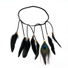Limit buy Women Lady Peacock Leather Head Chain Hair Decoration Handmad Woven Headwear Headband for Party