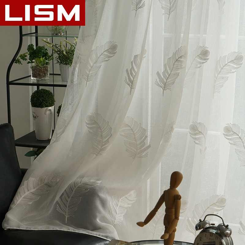 LISM Embroidered Tulle Sheer For Window Curtains For Living room The Bedroom Modern Minimalism Tulle Curtains Fabric Drapes