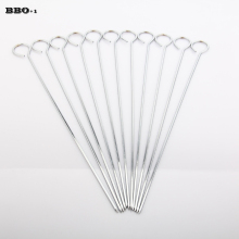 12pcs 30cm Stainless steel Flat BBQ Sticks Metal BBQ Barbeque Skewers Kebab BBQ Stickers Grill Barbecue Accessories(China)