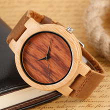 Men Watches Natural Wooden Watches Original Wood Bamboo Wristwatch Genuine Leather Simple Analog Handmade Clock Reloj de madera