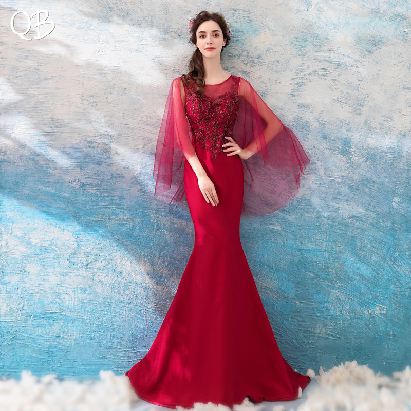 Wine Red Mermaid Satin Lace Appliques Elegant Sexy Evening Dresses 2019 New Fashion Bride Party Prom Dress XH169