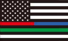 3x5ft Thin half red and blue Line one green line striped black and white American Flag 90x150cm