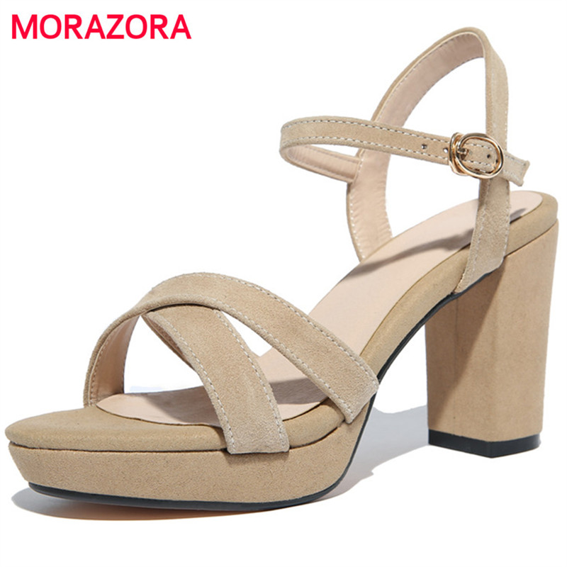 MORAZORA Platform shoes buckle women sandals summer spuer heels shoes kid suede leather sexy lady party shoes black fashion<br>