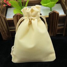 Wholesale 9x12cm Drawstring Beige Velvet Bags Pouches Jewelry Christmas Valentines Gift Bags 200pcs/lot Free Shipping