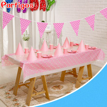 56pcs/set disposable tablecloth paper cup plate hat boy girl theme baby birthday Party Set Decoration supplies Polka Dot Pennant