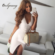 Buy Onlyoung 2017 Summer Women Bodycon Pencil Dress White Knee Length Midi Dresses Elegant Lady Halter Split Sexy Bandage Dress