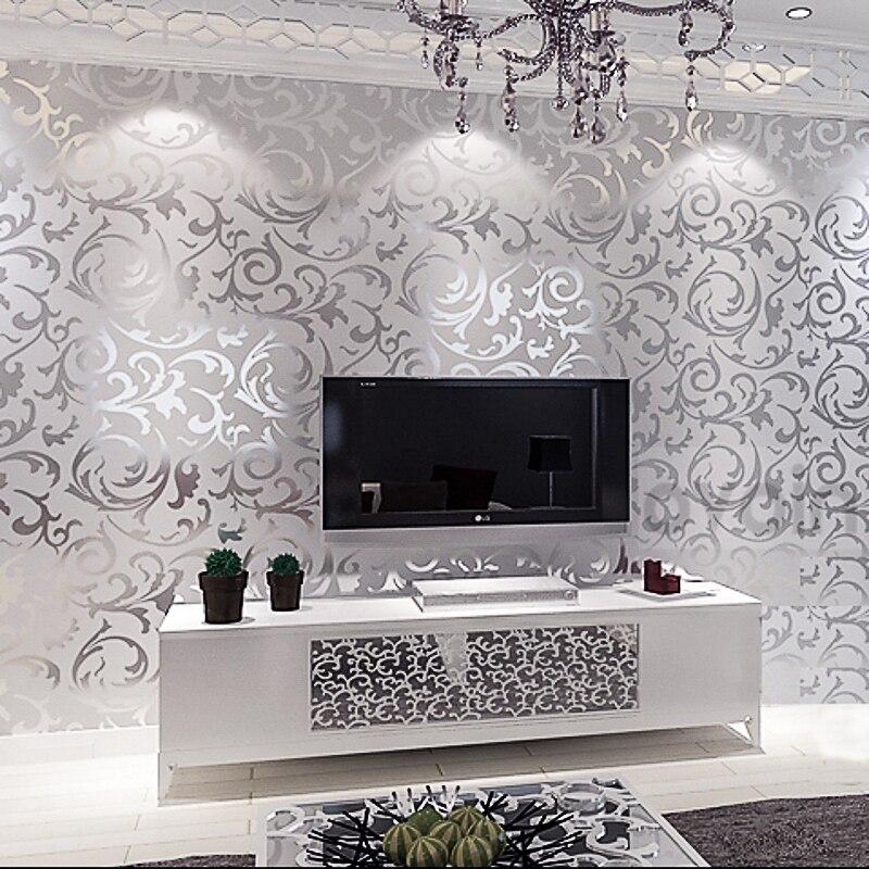 Victorian Damask wallpaper silver leaf scroll background wall paper roll vinyl damask wallpaper bedroom,living room decor<br><br>Aliexpress