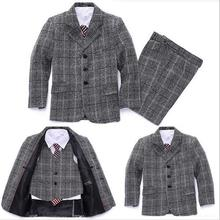 Boys blazers for weddings Formal Clothing set 3 pieces Gray plaid Kids tuxedo suit terno infantil Children Party dress
