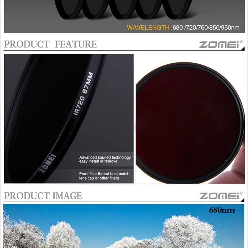 zomei IR 76 760 nm IR76 X-Ray Infrared Filter for DSLR SLR camera lens 52mm 58mm 72mm 77mm For Canon Nikon Sony Pentax Hoya lens 3
