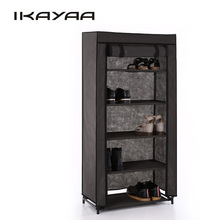 iKayaa US UK FR StockShoe Racks 5 Tier Fabric Shoes Rack Cabinet Zip up 10 Pair Standing Boots Shoes Cabinet Metal Shoe Shelf
