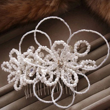 Charm Rhinestone Hair Slide Floral Head Piece Beads Flower Wedding Hair Comb Clip Crystal Bridal Hairpin Jewelry Hair Accessory