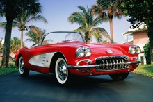 1960 corvette chevrolet convertible red  classic car poster silk fabric cloth print wall sticker Wall Decor custom print