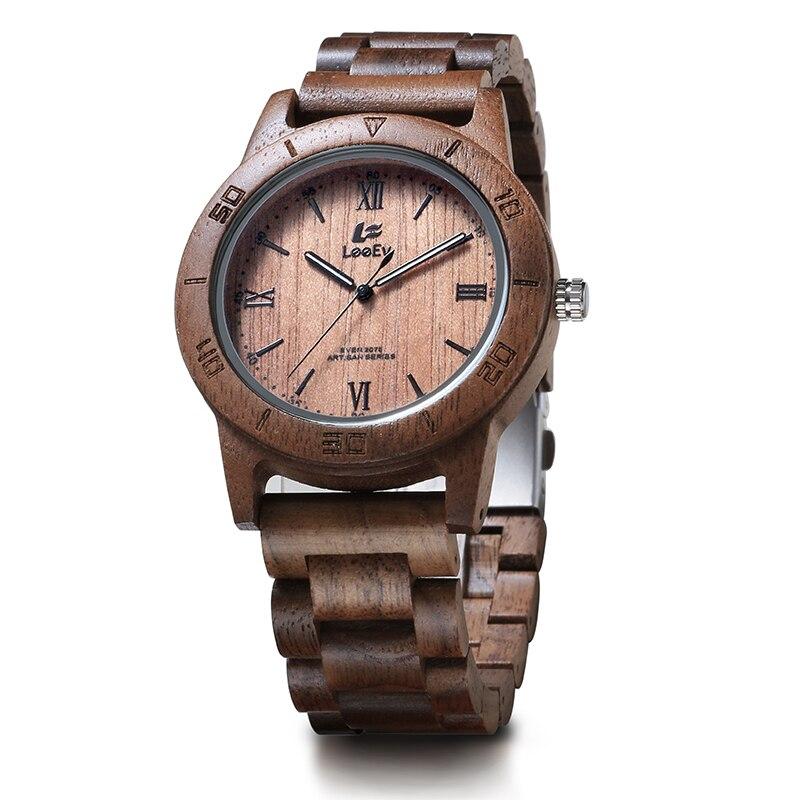 LeeEv EV2075 Mens Natural Walnut Wood Watch Analog Quartz Light Weight Vintage Wooden Wrist Watch<br>