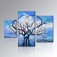 Framed Hand Painted Blue Landscape Oil Painting on Canvas Abstract Tree Artwork