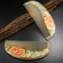 Handmade Sheep Horn Combs Thickening Authentic Hand-painted Lacquer Art Flower Combs Hair Style Designer Best Gift for Women