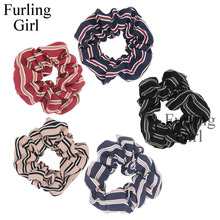 Furling Girl 1PC Stripe Printed Double Fabric Hair Scrunchy Ponytail Holder Hair ties Gum Hair Bands Hair Accessories(China)