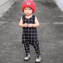 Infant Baby Boys Girls  Summer Cotton Pajamas Sleeveless Rompers  Line Printing O-Neck Jumpsuits For Kids