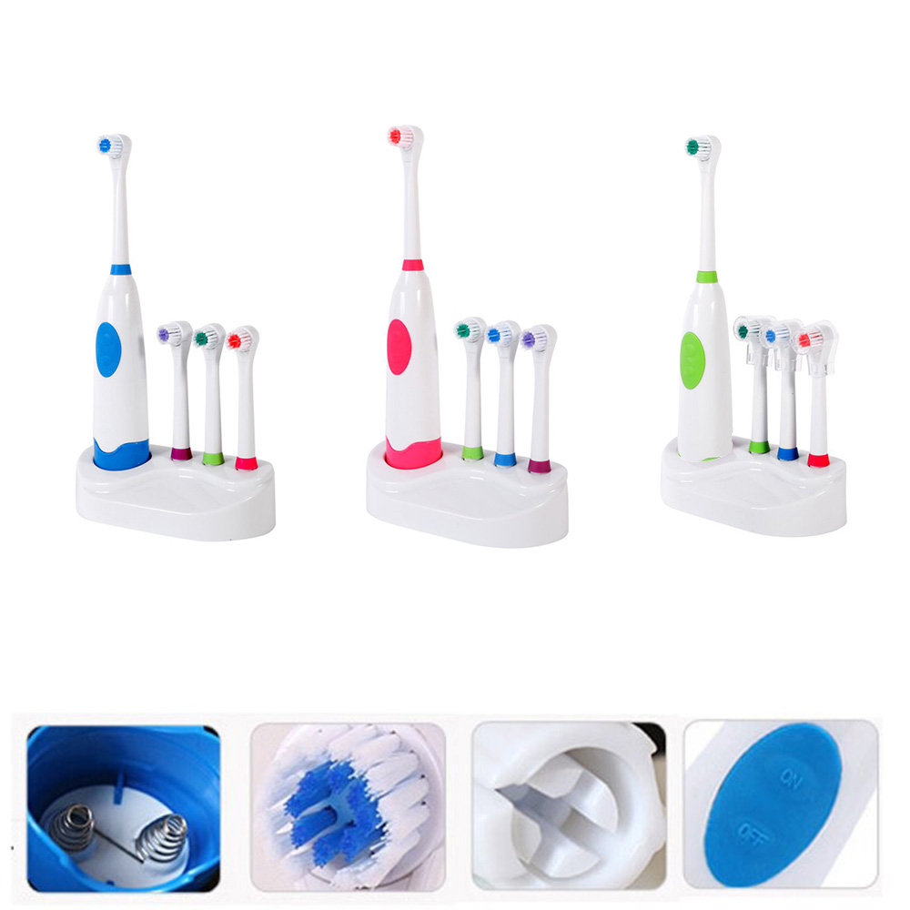 Waterproof Soft Electric Toothbrush With 4 x Brush Heads Replacement Teeth Whitener Cleaning Oral Spin Teeth brush Set