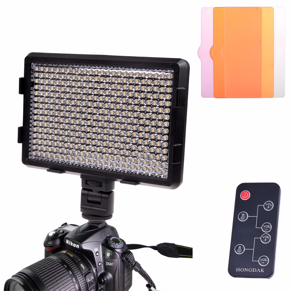 HD-360 White Light LED Video Light on-Camera Photography Lighting Fill Light for Canon/ Nikon DSLR Camera with 3 Filter Plates<br><br>Aliexpress