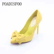 POADISFOO  Blue WOMEN SHOES pumps  fashion sweet fine with high-heeled pointed pointed suede bow women's shoes .ZWM-305