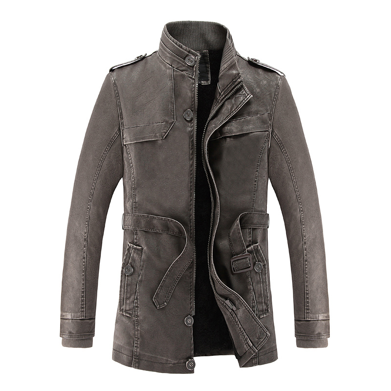 Leather Trench Jacket Men Faux Fur Coat Brand Luxury Fashion Thicken Warm Long Trench Faux Sheepskin Coat Suede Leather Jacket