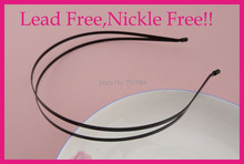 5PCS Black Plain Double 3mm flat Wire metal Hair Headbands hairbands at nickle free and lead free,BARGAIN for BULK