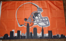 Cleveland Browns City Scape  logo  Flag 3x5FT NFL  banner150X90CM 100D  Polyester brass grommets custom flag, Free Shipping