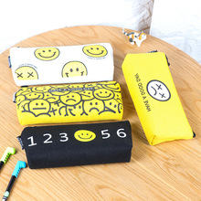 Novelty Cute Fashion Smiling Face Canvas Pencil Case Fabric Zipper Emoticon Smiley Pen Stationery Storage Bag