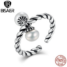 BISAER Vintage Real Sterling Silver Ring Freshwater Pearls Rings For Women Wedding /Party Sterling Silver Jewelry Gift HUR015(China)