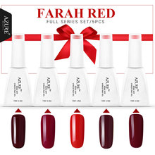Azure Beauty 5 Pcs Farah Red Series Red Gel Nail Polish 12ml UV Gel Polish Soak Off Led Gel Polish Lacquer For Halloween