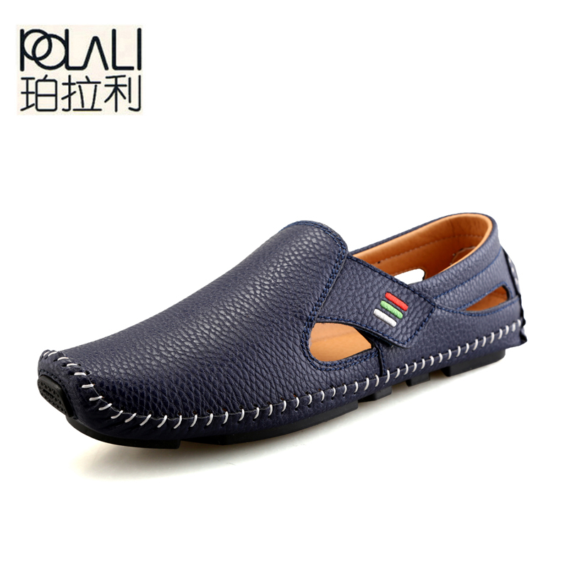 POLALI New Fashion Moccasins For Men Loafers Summer Walking Breathable Casual Shoes Men Hook&loop Driving Boats Men Shoes Flats