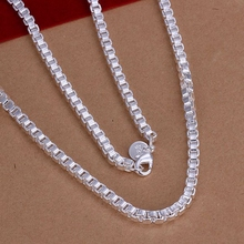 Wholesale silver plated Necklaces & Pendants,925 Jewelry silver, 4mm/20inch Box Chain Necklace SMTN016