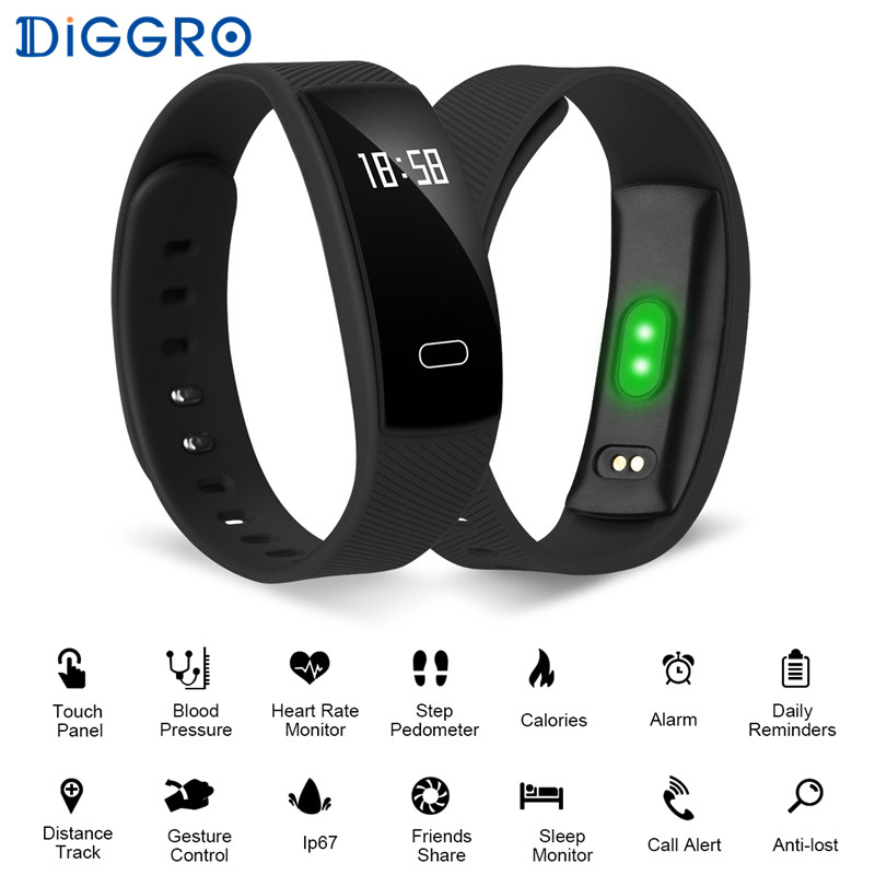 Diggro QS80 Smart Wristband Blood Pressure Heart Rate Monitor Call Reminder Fitness Tracker Smart Bracelet IOS Android
