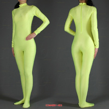 2014 hot sale Grass green Lycra Spandex Zentai Suit full body Halloween Women Fancy Costumes,Free Shipping(China)