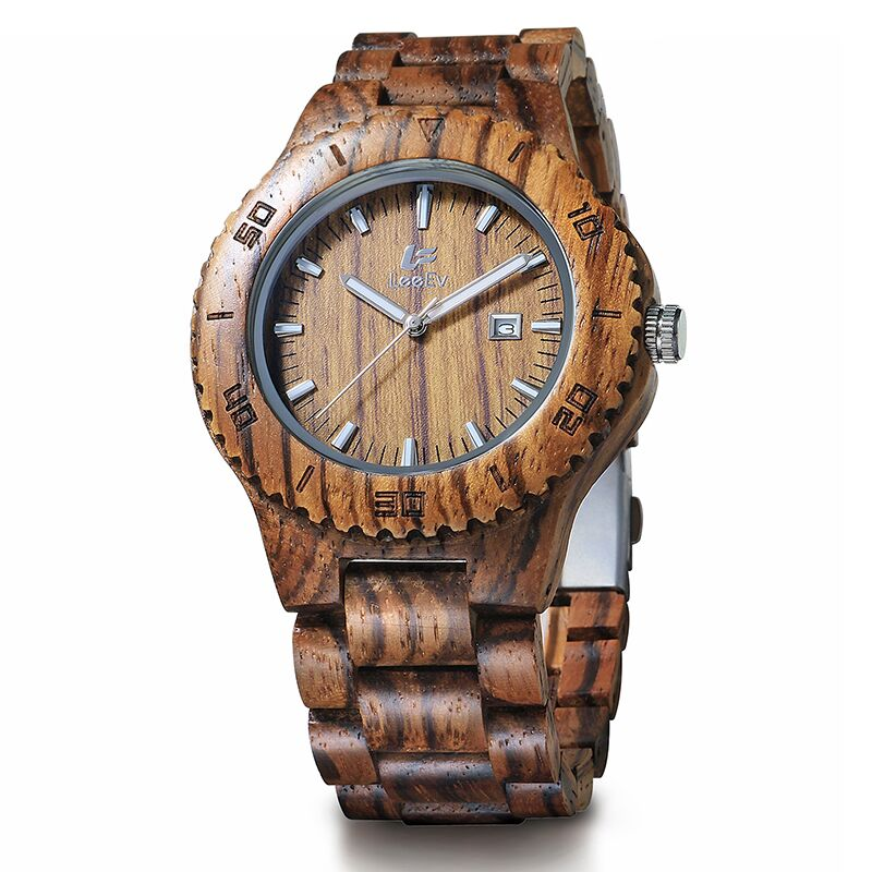 LeeEv Mens Wooden Watches Top Brand Luxury Watch 2016 Newest Japan Movement Zebra Wood Men Big Wristwatches Best Gift<br>