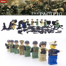 Oenux WW2 The Pacific War US Navy VS Japan Army Military Soldier Figures Building Blocks Toys Military DIY Bricks Toy For Kids(China)