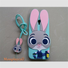 Cute cartoon Zootopia Judy Bunny soft silicone back cover cases for Alcatel One Touch Go Play 7048 7048x Cell phone case + Strap