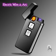 New Arc Dual-purpose Ignition Induction Touch Windproof Plasma Lighters USB Pulse Electronic Rechargeable Cigarette Lighter(China)