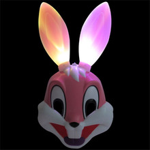 1 Piece 37*20cm Sexy Plastic Luminous Bunny Rabbit Mask Long Ear Bondage Masquerade Adult Party Costume Props MaskP2(China)