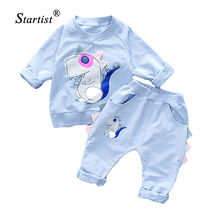 New Boys Clothes 2017 Spring Children Clothing Girls Suits Cartoon Dinosaur Kids Clothing Sets Baby Girls Outfits