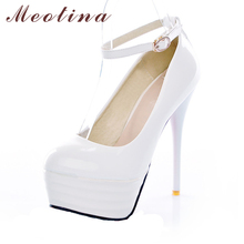 Meotina High Heels Women Shoes White Bridal Shoes Sexy Ultra High Heels Night Club Woman Platform Heels Ladies Pumps Big Size 42(China)
