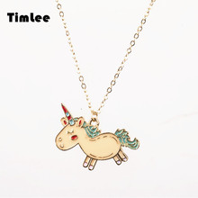 Timlee N056 Free shipping Cartoon Animals Unicorn Cute Necklaces Fashion Jewelry Wholesale(China)