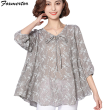 2017 New Summer Casual Women Blouse Loose Long Plus Size 5XL 6XL Print Tunic Shirt Floral Cotton Linen Top feminina Blusas 101(China)