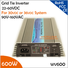 600W 22-60VDC 90-140VAC wide DC input grid tie inverter suitable for 30V or 36V solar power system or wind system(China)
