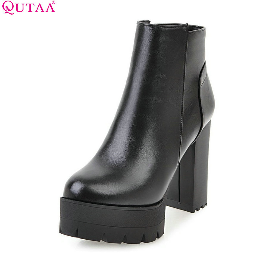 QUTAA 2018 Fashion Pu Leather Westrn Style Women Ankle Boots Square High Heel Platform Zipper Ladies Round Toe Boots Size 33-43<br>
