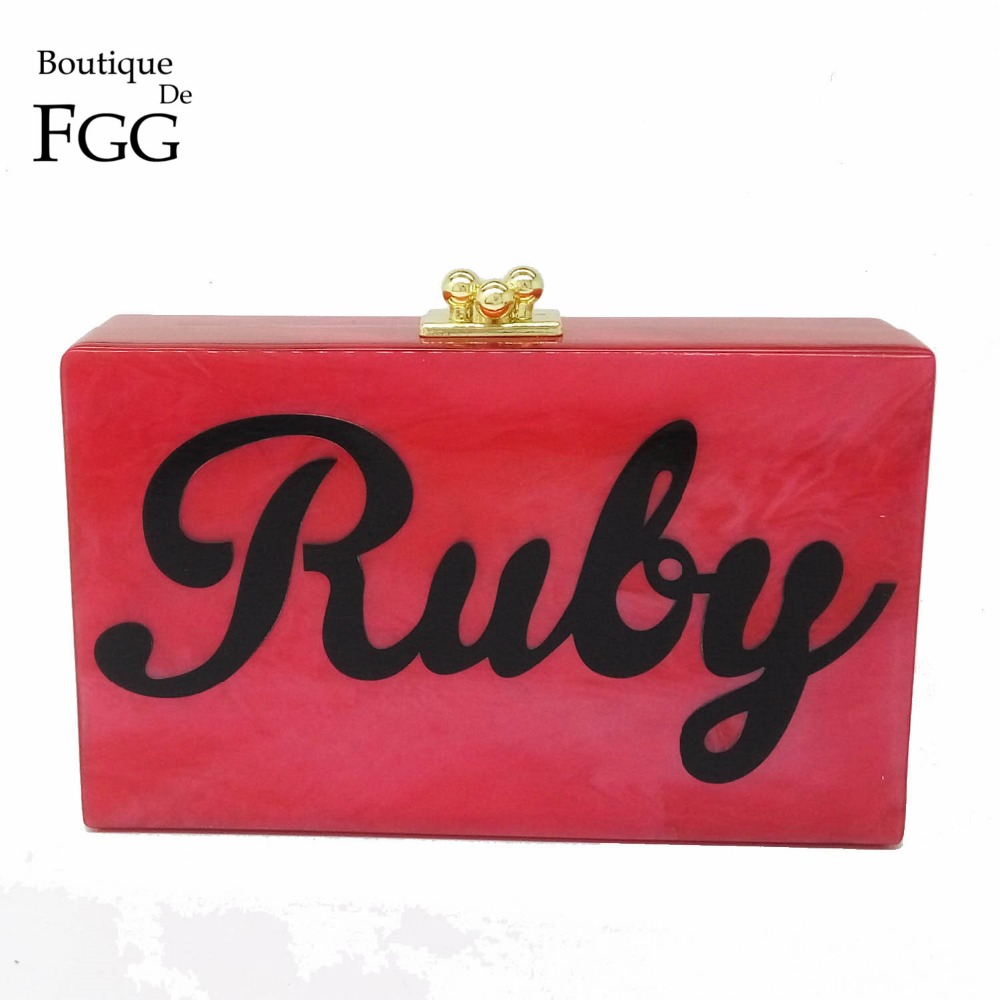 Famous Brand Women Hot Pink RUBY Letters Acrylic Evening Clutches Casual Chains Shoulder Bags Prom Metal Box Clutch Handbags<br><br>Aliexpress