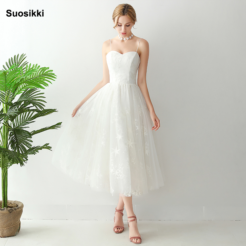 Suosikki Short Beach Wedding Dresses 2019 Vestido Noiva Praia Simple New White Real Photo A-Line Prom Party Bridal Gowns